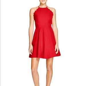 Lucy Paris Exclusive Scallop Trim Fit Flare Dress